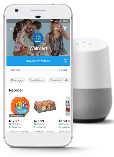 Walmart mobile app and Google Home speaker