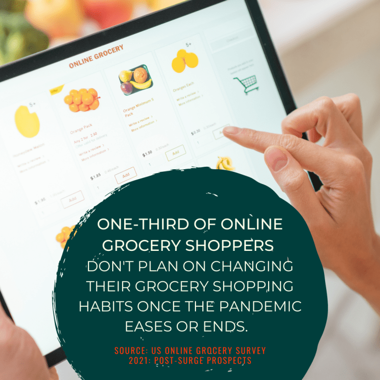A woman shops for groceries online.
